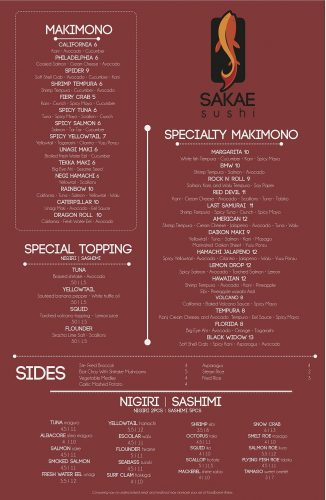 Sakae Sushi Kansas City Dinner Menu 1 of 2