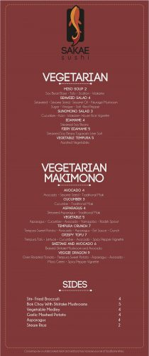 Sakae Sushi Kansas City Vegetarian Menu